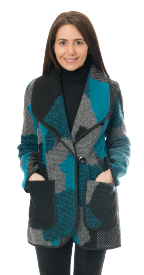 Womens Teal Patchwork Coatigan Jacket K442